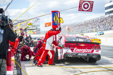dover: Dover, DE - May 15, 2016: Kyle Larson brings the #42 Target Chevy into the pits for maintenance  during the AAA 400 Drive For Autism weekend at the Dover International Speedway in Dover, DE.