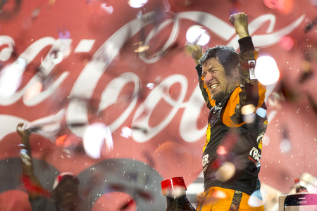 nscs: Concord, NC - May 29, 2016: Martin Truex Jr. (78) wins the Coca-Cola 600 at the Charlotte Motor Speedway in Concord, NC. Editorial