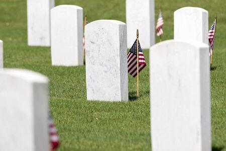 respectful: veterans cemetery memorial celebration with American Flag