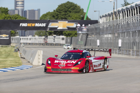 corvette: Detroit, MI - Jun 03, 2016:  The Action Express Racing Corvette DP races through the turns at the Detroit Grand Prix at Belle Isle Park in Detroit, MI.