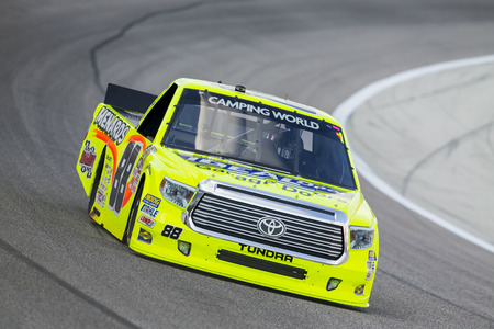 rattlesnake: Ft Worth, TX - Jun 09, 2016:  Matt Crafton (88) brings his race car through the turns during a practice session for the Rattlesnake 400 at Texas Motor Speedway in Ft Worth, TX.