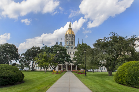 The Connecticut State Capitol building houses the Connecticut General Assembly; the upper house, the State Senate, and lower house, the House of Representatives, as well as the office of the Governor of the State of Connecticut.