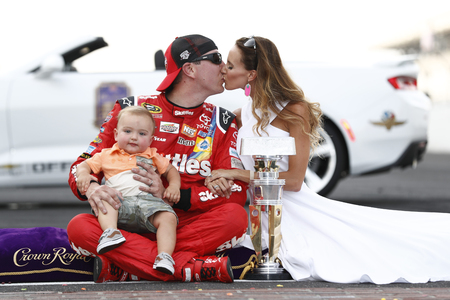 coalition: Speedway, IN - Jul 24, 2016: Kyle Busch (18) wins the Combat Wounded Coalition 400 at the Indianapolis Motor Speedway in Speedway, IN.