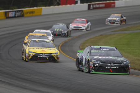 pa: Long Pond, PA - Aug 01, 2016: Denny Hamlin (11) battles for position during the Pennsylvania 400 at the Pocono Raceway in Long Pond, PA.