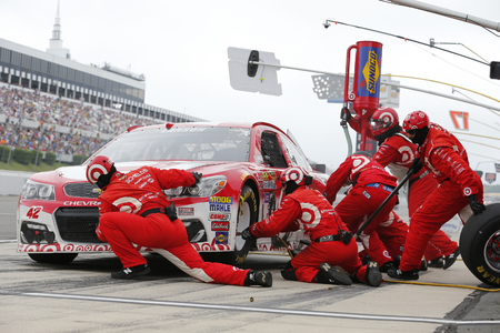 kyle: Long Pond, PA - Aug 01, 2016: Kyle Larson (42) makes a pit stop for the Pennsylvania 400  at the Pocono Raceway in Long Pond, PA.