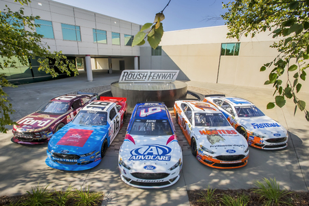 Concord, NC - Aug 30, 2016: The Roush Fenway Racing Throwback Race Cars at the Roush Fenway Racing World Headquarters in Concord, NC. Editorial