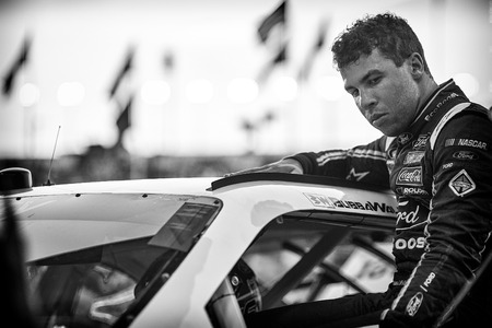roush: Sparta, KY - Sep 23, 2016: Darrell Wallace Jr., driver of the #6 Bleacher Report Ford, gets ready for action  during the VisitMyrtleBeach.com 300 weekend at the Kentucky Speedway in Sparta, KY.