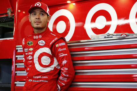nscs: Loudon, NH - Sep 23, 2016: Kyle Larson (42) hangs out in the garage during practice for the Bad Boy Off Road 300 at the New Hampshire Motor Speedway in Loudon, NH. Editorial