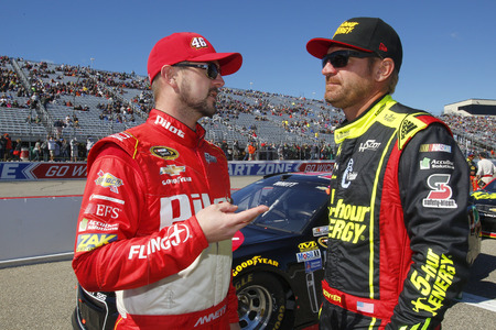 nscs: Loudon, NH - Sep 25, 2016: Clint Bowyer (15) and Michael Annett (46) get ready for the Bad Boy Off Road 300 at the New Hampshire Motor Speedway in Loudon, NH.