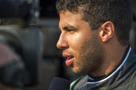 roush: Sparta, KY - Sep 24, 2016: Darrell Wallace Jr., driver of the #6 Bleacher Report Ford, makes a press appearance  during the VisitMyrtleBeach.com 300 weekend at the Kentucky Speedway in Sparta, KY.