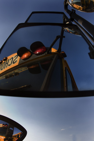 coed: School buses prepare for another school year Stock Photo
