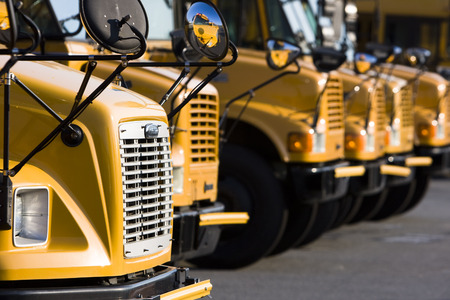 School buses prepare for another school year Archivio Fotografico