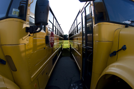 School buses prepare for another school year Stock Photo