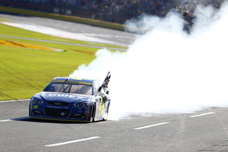 nc: Concord, NC - Oct 09, 2016: Jimmie Johnson (48) wins the Bank of America 500 at the Charlotte Motor Speedway in Concord, NC.