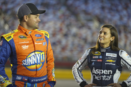 nc: Concord, NC - Oct 06, 2016: Ricky Stenhouse Jr. (17) and Danica Patrick (10) wait to qualify for the Bank of America 500 at the Charlotte Motor Speedway in Concord, NC.