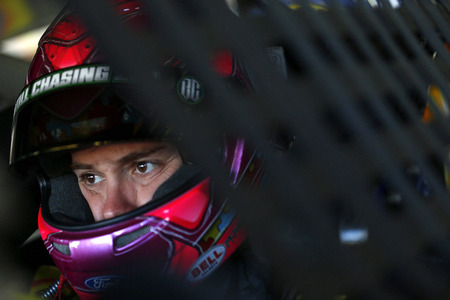 nc: Concord, NC - Oct 06, 2016: Ricky Stenhouse Jr. (17) hangs out in the garage during practice for the Bank of America 500 at the Charlotte Motor Speedway in Concord, NC.