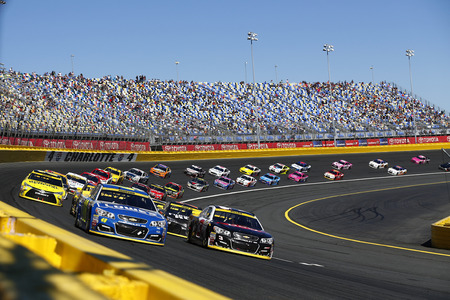 coatings: Concord, NC - Oct 09, 2016: Jimmie Johnson (48) and Austin Dillon (3) lead the field to a restart during the Bank of America 500 at the Charlotte Motor Speedway in Concord, NC.