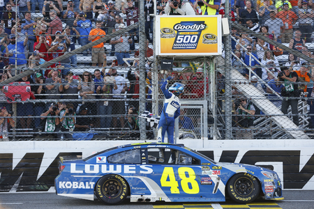 Martinsville, VA - Oct 30, 2016: Jimmie Johnson (48) wins the Goodys Fast Relief 500 at Martinsville Speedway in Martinsville, VA.