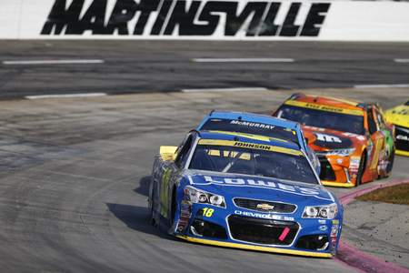 Martinsville, VA - Oct 30, 2016: Jimmie Johnson (48) battles for position during the Goodys Fast Relief 500 at the Martinsville Speedway in Martinsville, VA.