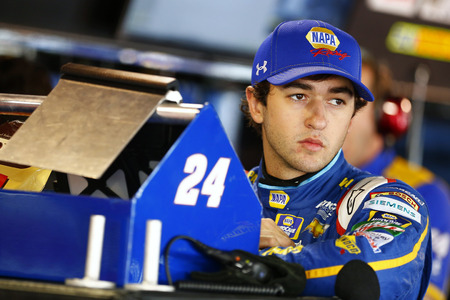 Martinsville, VA - Oct 28, 2016: Chase Elliott (24) hangs out in the garage during practice for the Goodys Fast Relief 500 at the Martinsville Speedway in Martinsville, VA. Editorial
