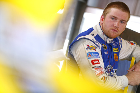 34: Martinsville, VA - Oct 28, 2016: Chris Buescher (34) hangs out in the garage during practice for the Goodys Fast Relief 500 at the Martinsville Speedway in Martinsville, VA.