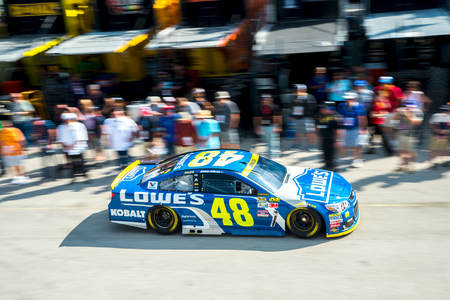 Homestead, FL - Nov 19, 2016: Jimmie Johnson drives the #48 Lowes Chevy onto the track  during the Ford EcoBoost 400 weekend at the Homestead-Miami Speedway in Homestead, FL.