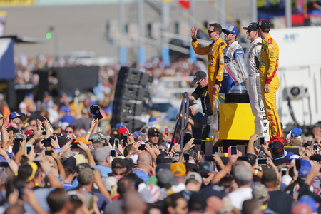 nascar: Homestead, FL - Nov 20, 2016: The NASCAR Chase Drivers get introduced for the FORD EcoBoost 400 at the Homestead-Miami Speedway in Homestead, FL.