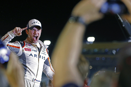 Homestead, FL - Nov 19, 2016: Daniel Suarez (19) wins the Xfinity Series championship after winning the Ford EcoBoost 300 at the Homestead-Miami Speedway in Homestead, FL.