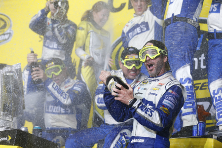 nascar: Homestead, FL - Nov 20, 2016: Jimmie Johnson (48) wins  the Ford EcoBoost 400 and the 2016 NASCAR Sprint Cup Championship at the Homestead-Miami Speedway in Homestead, FL.