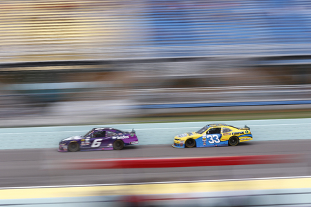 wallace: Homestead, FL - Nov 19, 2016: Darrell Wallace Jr (6) battles for position during the Ford EcoBoost 300 at the Homestead-Miami Speedway in Homestead, FL. Editorial