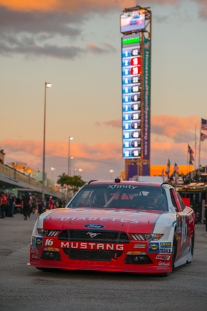 roush: Homestead, FL - Nov 18, 2016: Ryan Reed drives the #16 Lilly Diabetes  American Diabetes Association Ford onto the track  during the Ford EcoBoost 300 weekend at the Homestead - Miami Speedway in Homestead, FL. Editorial