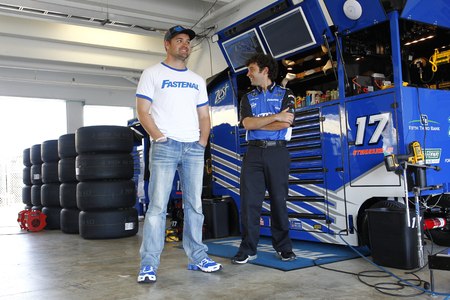 roush: Homestead, FL - Nov 18, 2016: Ricky Stenhouse Jr. (17) hangs out in the garage during practice for the Ford EcoBoost 400 at the Homestead-Miami Speedway in Homestead, FL. Editorial