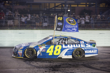 nascar: HOMESTEAD, FL - NOVEMBER 20: 2016 Jimmie Johnson (48) wins the NASCAR Sprint Cup Series Championship after winning the FORD EcoBoost 400 race at the Homestead-Miami Speedway in Homestead, FL. (Photo by Stephen A. ArceIcon Sportswire) Editorial
