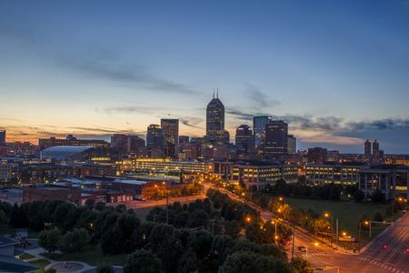 indianapolis: Indianapolis, IN - Jul 25, 2013: Indianapolis, Indiana at dusk on a summer night