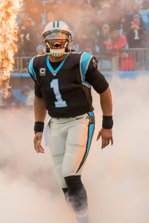 yardline: Charlotte, NC - Dec 11, 2016:  Carolina Panthers Quarterback, Cam Newton, shows emotion before the game against the visiting San Diego Chargers at Bank of America Stadium in Charlotte, NC. The Panthers win the game, 28-16.