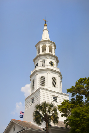 St. Michaels Church is a historic church and the oldest surviving religious structure in Charleston, South Carolina. It is located at Broad and Meeting streets on one of the Four Corners of Law, and represents ecclesiastical law. It was built in the 1750