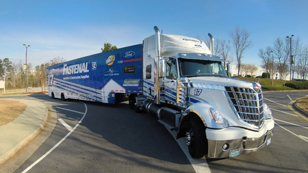 roush: February 14, 2017 - Concord, North Carolina, USA:  The Roush Racing haulers leave for Daytona for the start of the Monster Energy Cup Series race from their corporate headquarters in Concord, North Carolina.