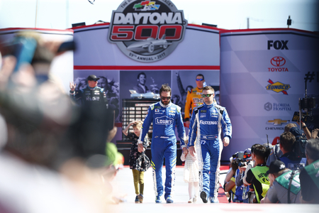February 26, 2017 - Daytona Beach, Florida, USA: Jimmie Johnson (48) and Ricky Stenhouse Jr. (17) get introduced to the crowd for the Daytona 500 at Daytona International Speedway in Daytona Beach, Florida.