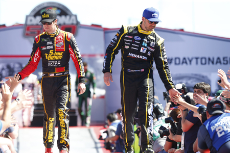 February 26, 2017 - Daytona Beach, Florida, USA: Erik Jones (77) and Paul Menard (27) get introduced to the crowd for the Daytona 500 at Daytona International Speedway in Daytona Beach, Florida.