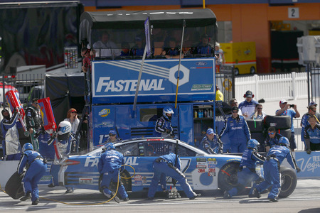 March 12, 2017 - Las Vegas, Nevada, USA: Ricky Stenhouse Jr. (17) brings his car onto pit road during the Kobalt 400 at Las Vegas Motor Speedway in Las Vegas, Nevada. Editorial