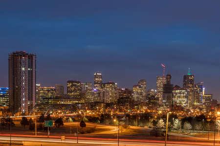 Denver, Colorado skyline at dusk