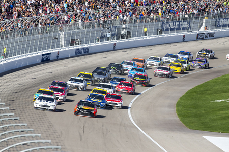 March 12, 2017 - Las Vegas, Nevada, USA:  The Monster Energy Cup Series teams race for the Kobalt 400 at Las Vegas Motor Speedway in Las Vegas, Nevada.