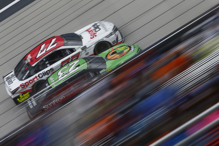April 24, 2017 - Bristol, Tennessee , USA: Gray Gaulding (23) battles for position during the Food City 500 at Bristol Motor Speedway in Bristol, Tennessee .