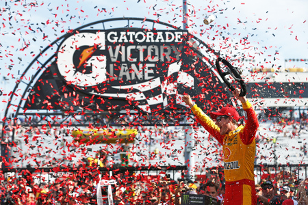 April 30, 2017 - Richmond, Virginia, USA: Joey Logano (22) celebrates after taking the checkered flag and winning the Toyota Owners 400 at Richmond International Speedway in Richmond, Virginia. Editorial