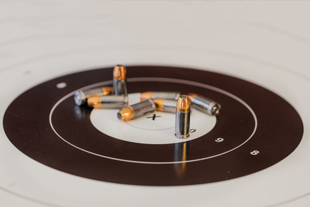Ammunition on a target Stock Photo