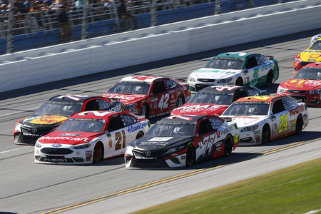 May 07, 2017 - Talladega, Alabama, USA: Erik Jones (77), Ryan Blaney (21) and Martin Truex Jr. (78) battle for position during the GEICO 500 at Talladega Superspeedway in Talladega, Alabama. Editorial