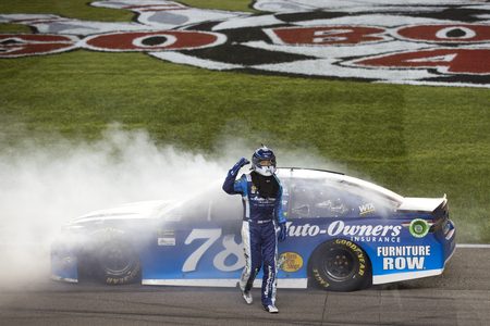 May 13, 2017 - Kansas City, Kansas, USA: Martin Truex Jr. (78) wins the Go Bowling 400 at Kansas Speedway in Kansas City, Kansas.