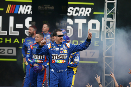 May 20, 2017 - Concord, NC, USA: Kyle Busch (18) gets introduced to the crowd for the Monster Energy NASCAR All-Star Race at Charlotte Motor Speedway in Concord, NC. Editorial