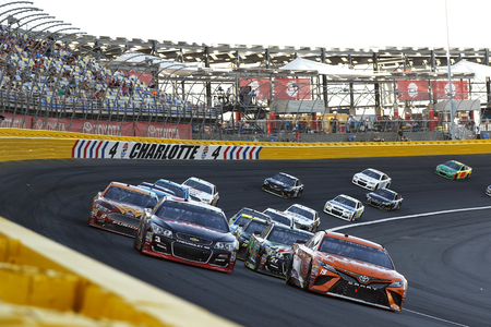 May 20, 2017 - Concord, NC, USA: Daniel Suarez (19) leads the field to a restart during the Monster Energy Open at Charlotte Motor Speedway in Concord, NC. Editorial
