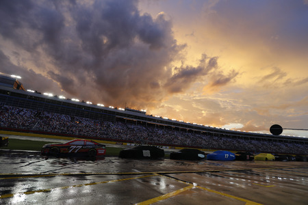 charlotte: May 28, 2017 - Concord, NC, USA: Heavy rain puts a hold on the Coca Cola 600 at Charlotte Motor Speedway in Concord, NC.